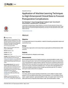 "Thumbnail of PDF article titled ""Application of Machine Learning Techniques to High-Dimensional Clinical Data to Forecast Postoperative Complications"""