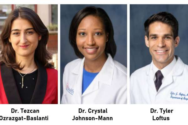 Photos of Dr. Tezcan Ozrazgat-Baslanti, Dr. Crystal Johnson-Mann, and Dr. Tyler Loftus