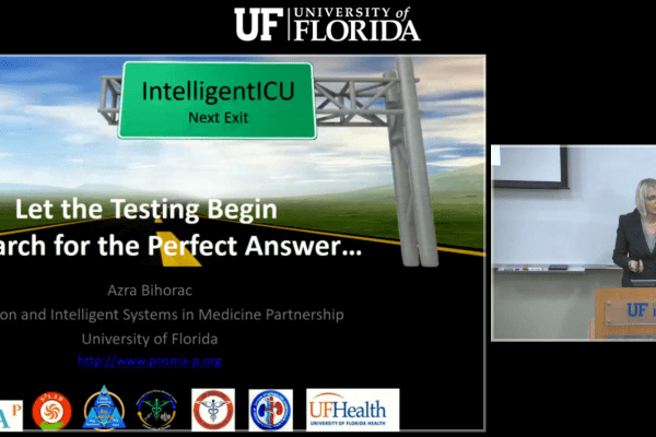 screenshot of the title slide with Dr. Bihorac standing at a podium