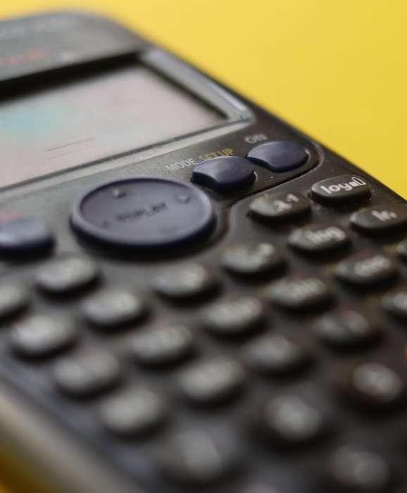 close-up image of a scientific calculator