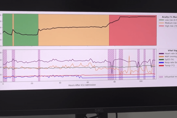computer screen showing vital signs