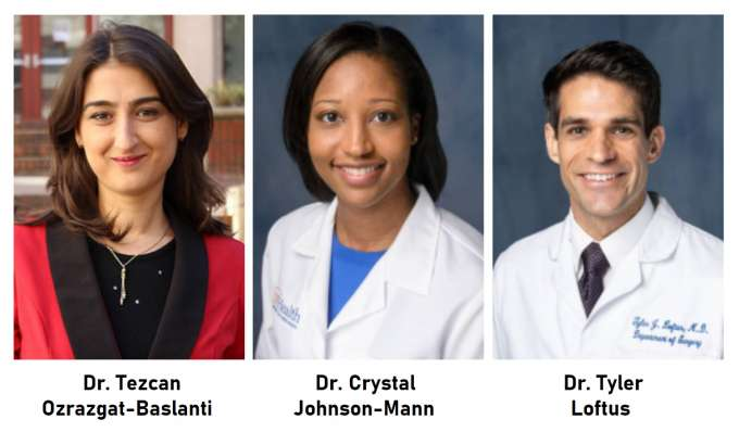 Photos of Dr. Tezcan Ozrazgat-Baslanti, Dr. Crystal Johnson-Mann, and Dr. Tyler Loftus
